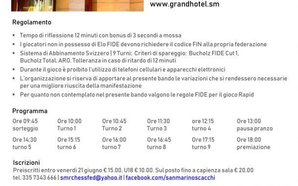 Torneo Rapid SMR 2019 - 3° memorial Massimiliano Maccapani