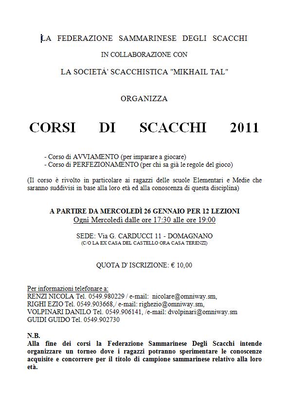 Corsi di Scacchi 2011