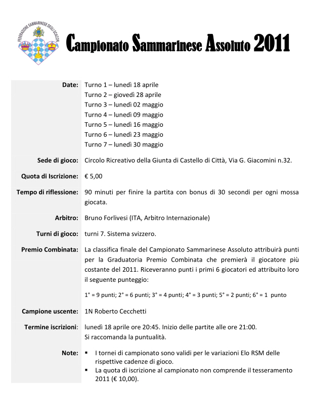 Campionato Sammarinese Assoluto 2011