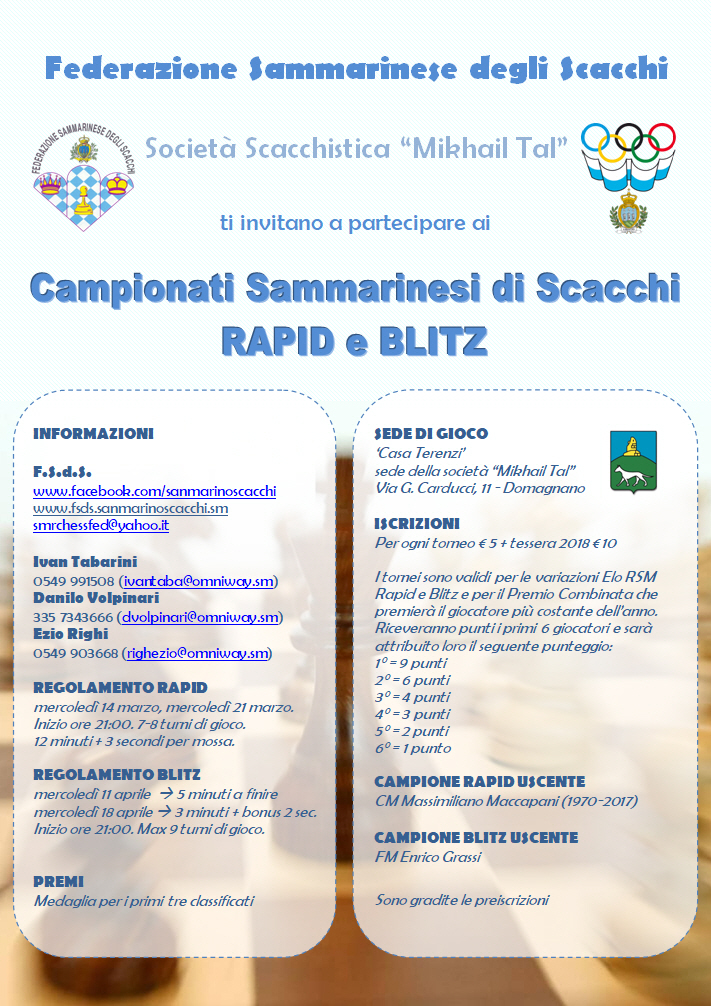 Campionato Sammarinese Blitz 2018 - vince Ezio Righi