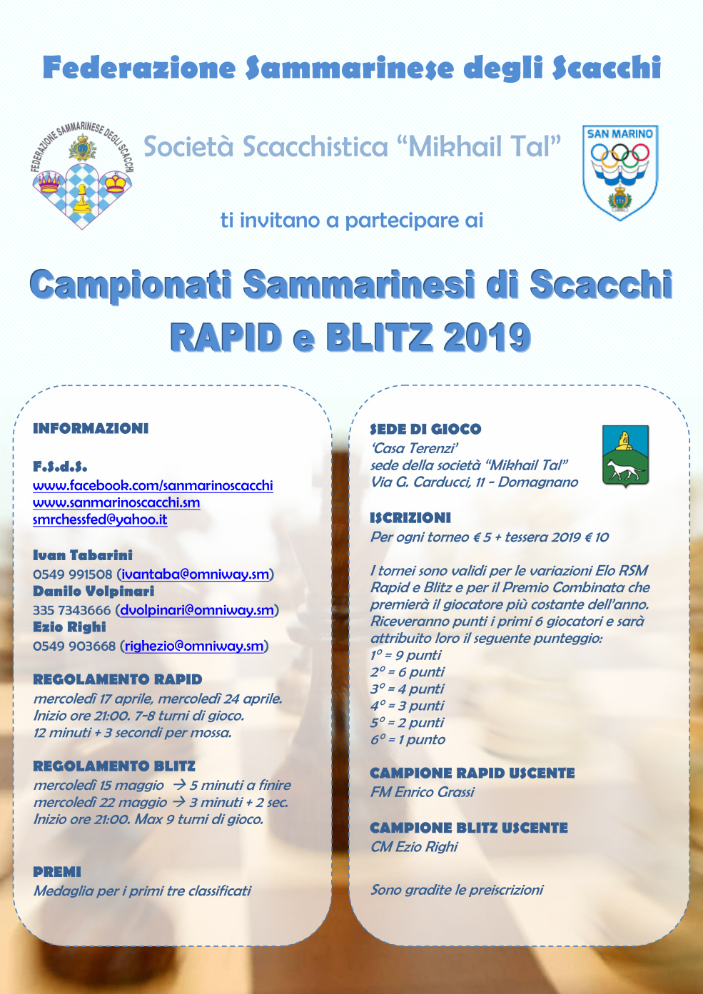 Campionati Sammarinesi Rapid e Blitz 2019